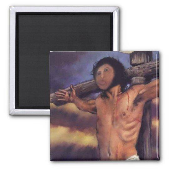 Jesus-Fresko spanischer Pensionistin Quadratischer Magnet