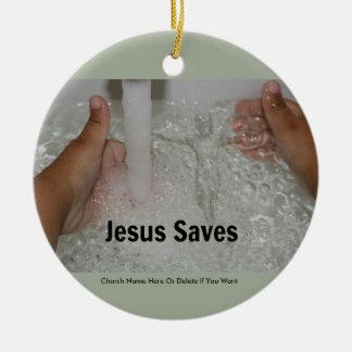 Jesus im Wasser mit zwei Daumen Up Keramik Ornament