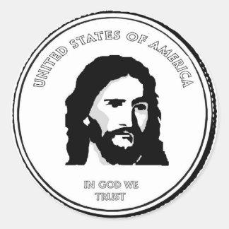 Jesus-Münzen-Aufkleber Runder Aufkleber