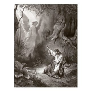 Jesus-Qual in der Garten-religiösen Postkarte