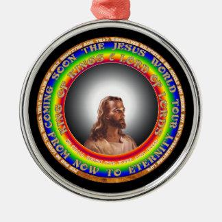 Jesus-Verzierung Rundes Silberfarbenes Ornament