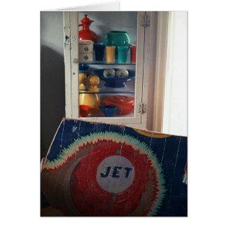 Jet-Flipperautomat-Wandgemälde u. Fiesta-Anzeige Grußkarte