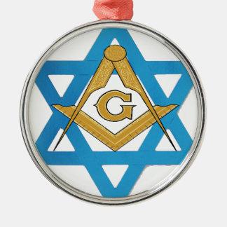 jewishmason rundes silberfarbenes ornament