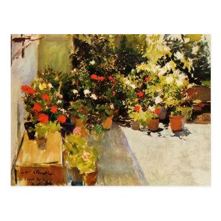Joaquín Sorolla- eine Dachspitze mit Blumen Postkarte