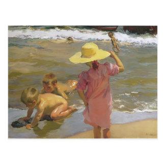 Joaquín Sorolla- Kinder auf der Küste Postkarte