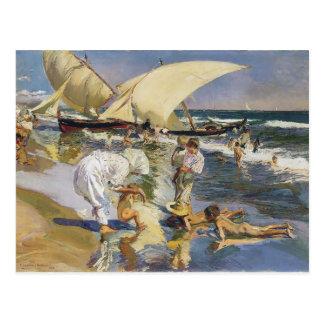 Joaquín Sorolla- Valencia Strand im Morgenlicht Postkarte