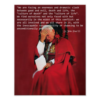 Johannes Paul II auf dem Leben Poster