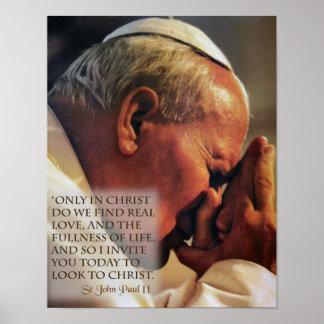 Johannes Paul II im Gebet Poster