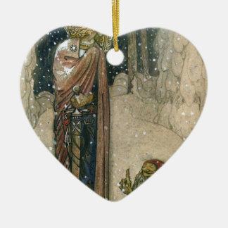 John Bauer - Prinzessin und Schleppangel Keramik Herz-Ornament