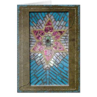 Judaika: Buntglas-Mosaik-Herz-Davidsstern Grußkarte