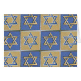 Judaika-Davidsstern Metallgoldblau Grußkarte