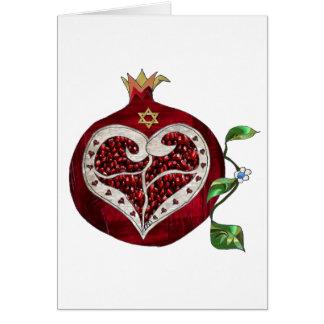 Judaika-Granatapfel-Herz Chanukka Rosh Hashanah Grußkarte