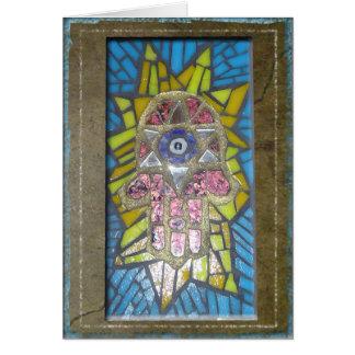 Judaika: Mosaik glühendes Hamsa w/Star von David Grußkarte