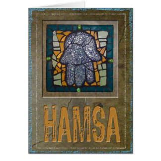 Judaika: Mosaik Hamsa mit Zement-Hintergrund Karte