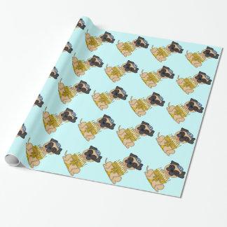 Jüdischer Feiertag-Licht Brown-Mops-Hund mit Geschenkpapier
