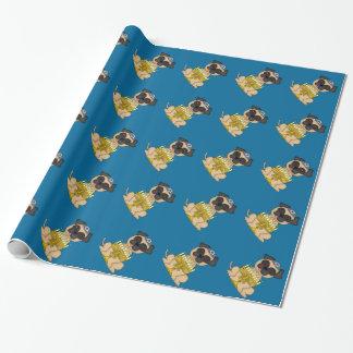 Jüdischer Feiertag-Mops Hund mit Menorah Geschenkpapier