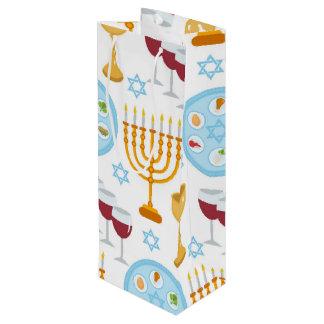 Jüdisches Feiertag Passahfest-Hintergrundmuster Geschenktüte Für Weinflaschen