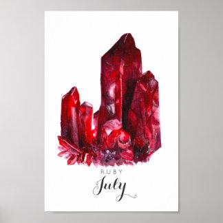 Juli Birthstone - karminrotes Plakat des