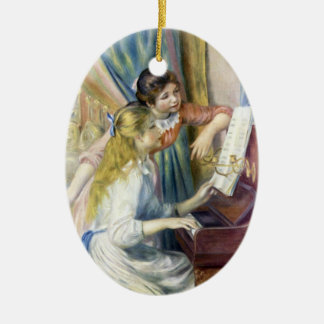 Junge Mädchen am Klavier durch Pierre Renoir Keramik Ornament