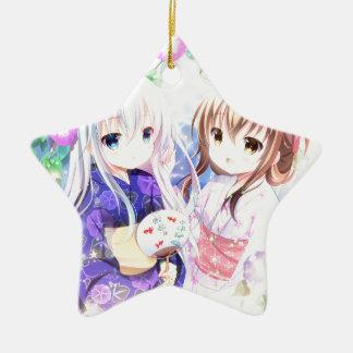 Junge Mädchen in Yukata Keramik Stern-Ornament