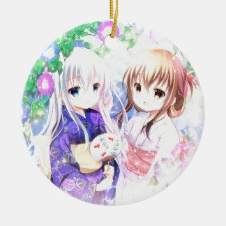 Junge Mädchen in Yukata Rundes Keramik Ornament