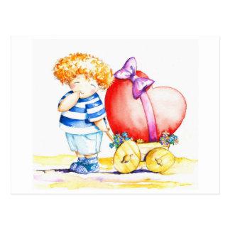 Junge mit Herzen Postkarte