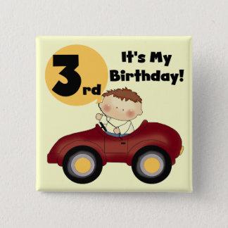 Junge rotes Auto-in den 3. Geburtstags-T - Shirts Quadratischer Button 5,1 Cm
