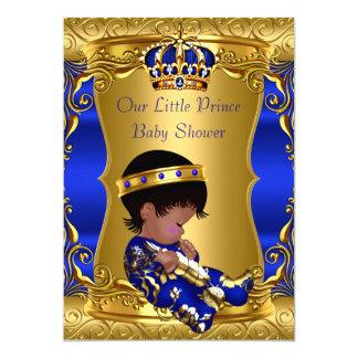 Jungen-blauer GoldAfroamerikaner Prinz-Babyparty 12,7 X 17,8 Cm Einladungskarte