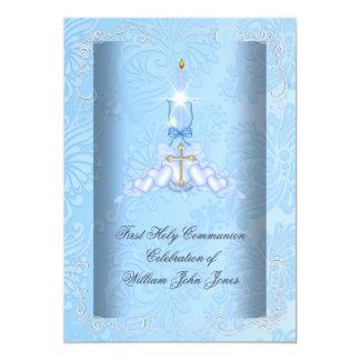 Jungen-erste heilige Kommunions-blaue Jungen 12,7 X 17,8 Cm Einladungskarte