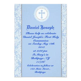 Jungen-erste heilige Kommunions-Einladungen 12,7 X 17,8 Cm Einladungskarte