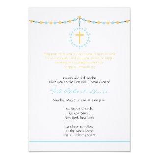 Jungen-erste Kommunion 8,9 X 12,7 Cm Einladungskarte