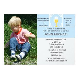 Jungen-Kommunions-Einladungs-blaue Foto-Karte 12,7 X 17,8 Cm Einladungskarte