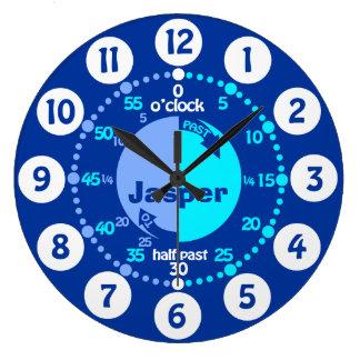 Jungen lernen, genannter Uhr der Zeit zu sagen