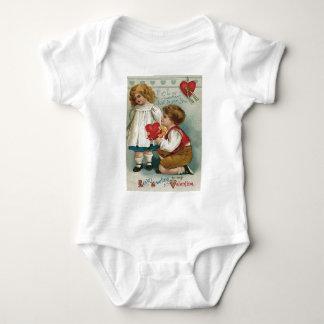 Jungen-Mädchen-Knie-Herz-Wishbone-Blumenstrauß Baby Strampler