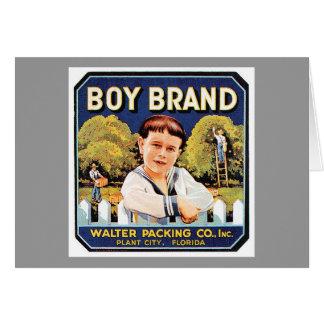 Jungen-Marken-Vintager Aufkleber Karte