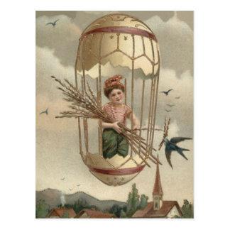 Jungen-Osterei-Vogel-Himmel-Luft-Ballon Postkarte
