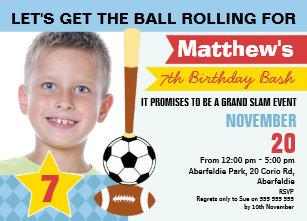 Jungen Sport Geburtstags Einladung