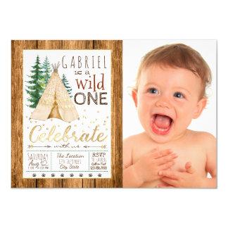 Jungenwilder Stammes- TeePee-erster Geburtstag 11,4 X 15,9 Cm Einladungskarte