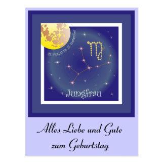 Jungfrau 23. August bis 23. September Postkarte