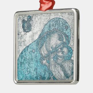 Jungfrau-Mary-Baby-Jesus-Engels-Porträt-Vintages Silbernes Ornament