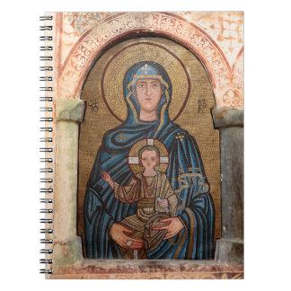 Jungfrau Mary und Jesus-Mosaik Spiral Notizblock