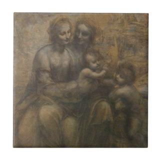 Jungfrau und Kind mit St Anne durch Leonardo da Kleine Quadratische Fliese