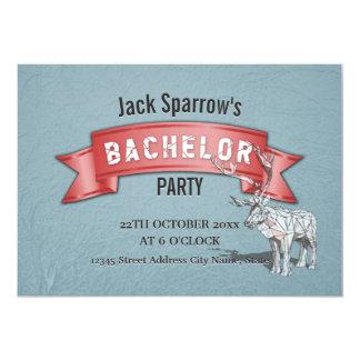 Junggeselle-/Bachelorette Hirsch-Party-rotes 12,7 X 17,8 Cm Einladungskarte