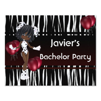 Junggeselle-Party-niedliche Mädchen-Rot-Ballone 10,8 X 14 Cm Einladungskarte
