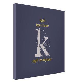 K-Monogramm-Initialen-Bar-Schläger Mitzvah Leinwanddruck