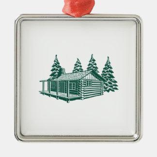 Kabine im Holz… Quadratisches Silberfarbenes Ornament