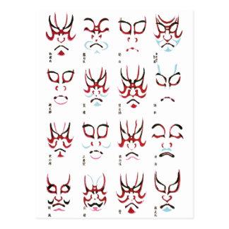 Kabuki Make-upentwurf Postkarte