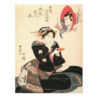 Kabuki Schauspieler reflektiert in einer Postkarte