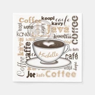 Kaffee-auf der ganzen Welt Name Servietten
