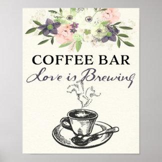 Kaffee-Bar-Zeichen-Hochzeit/BrautWatercolor mit Poster